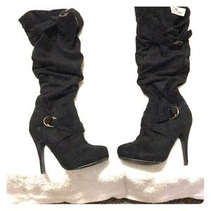 Black, knee-high, scrunchie, boots